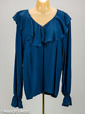 Pirate Blouse Ladies Navy Blue Ruffled Front Long Sleeve Rayon Blouse Medium