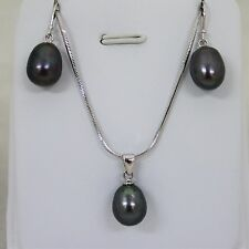 Brand New 925 Sliver Chain Necklace with Pearl Pendant and Earrings Set Delny