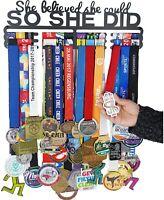 Medal Holder Display Hanger Rack -SHE Believed SHE Could SO SHE DID- Sport Rack
