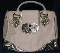 Handbag Imoshion Large Satchel Purse Blush Pink w Silver Faux Embossed Alligator
