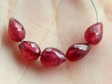 Natural Red Ruby Faceted Teardrop Straight Drilled Gemstone Beads
