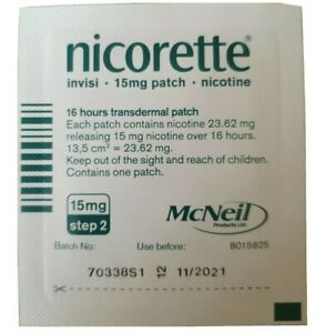 ONE 23.62mg nicotine Nicorette Step 2 Invisi 15mg 16 hours transdermal patch
