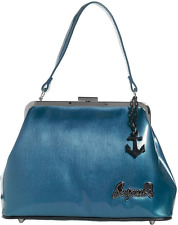 78094 Blue Betsy Purse Sourpuss Retro Fifties 1950s 50s Pinup Anchor Charm Shiny