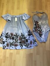 Ted Baker BELELLA Illusion swimsuit Size 14uk & Matching Cover Up  Dress  L New