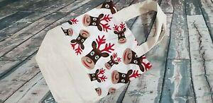 gift shopping bag practical sewn cotton fabric bag re-usable handmade CHRISTMAS