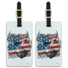 Deer USA Flag American Traditions Hunting Luggage ID Tags Cards Set of 2