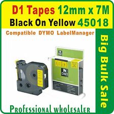 Dymo D1 12mm x 7m Black on Yellow 45018 Compatible Label Tape
