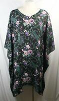 Plus size poncho style top/tunic,floral print,black w/purple,pink,green,1X-2X