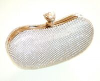 BOLSA plata pochette mujer strass cristales elegante novia ceremonia fiesta E45