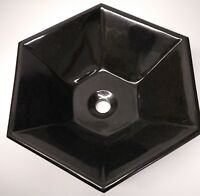 Absolute black granite Hexagon Natural stone polished vessel bathroom sink