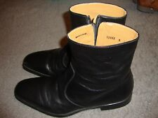Authentic 'Magnanni' Side Zip Ankle Boot - Black Leather Size 8D  12582 GUC  141