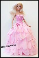 New Barbie doll clothes outfit princess wedding dress pink petal dress.