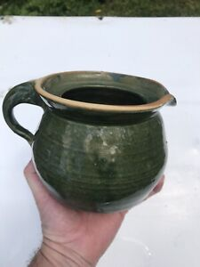 SIGNED STEWART ART POTTERY LOUISVILLE MISS GREEN STONEWARE POURING PITCHER