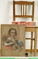 unleserlich signiert Mack oder Mair Pastell antik Portrait Mädchen Kostüm girl
