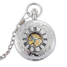 Römische Ziffern Silber Skelettuhr Mechanische Herren Automatische Taschenuhren