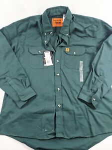 Wrangler Riggs Flame Resistant Forest Green Work Shirt Men's Large Reg NWT