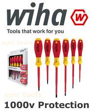 WIHA 6 Piece Electricians VDE 1000v Insulated Slot & Pozi Screwdriver Set, 25477