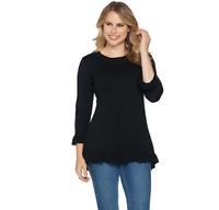 Isaac Mizrahi Live! 3/4 Sleeve Peplum Sweater w/ Ruffle Hem Black Color Size L