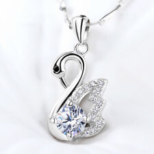 """Womens 925 Sterling Silver White Swan Crystal Pendant Elegant Charm Necklace 18"""""""