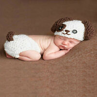Puppy Style Cotton Crochet Newborn Baby Photography Props Knitted Costumes Set