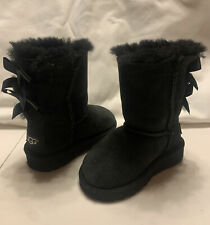 Ugg Boots Bailey Bow Toddler Girl Black Size 6 Excellent Condition