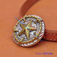 5X 34MM Texas Star Barbed Wire Concho Leathercraft Western Horse Saddles CONCHOS