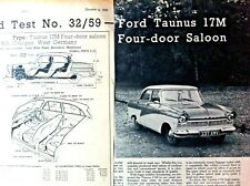 FORD TAUNUS 17M 4-DOOR SALOON - 1959 - Road Test removed from The MOTOR