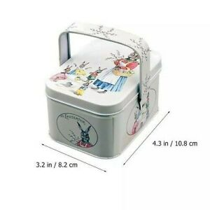 Easter Bunny Metal Gift Tin Mini Easter Egg Alloy Vintage Style Collecting Box