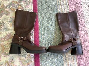 Mia Harness, chunky, boho,gypsy, cowboy brown leather mid calf boots Size 8.