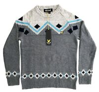 Lyle & Scott Patterned Chunky Knit Winter Sweater Pullover Jumper Grey Marl BNWT
