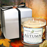 Fall Candle, Handmade, Hand Poured, All Natural Soy Candle in 17.5oz 3-Wick Gift