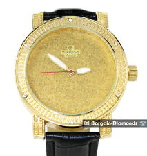 mens big gold tone bling business clubbing CZ watch black leather strap maxx