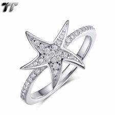 Womens TT RHODIUM 925 Sterling Silver Starfish Ring (RW62) NEW