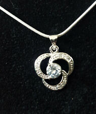 925 silver plate clear CZ pendant and snake chain