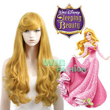 Sleeping Beauty Princess Aurora Long Golden Blonde Anime Cosplay Wig