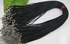 FREE SHIP 50Pcs Black Rubber Jewelry Necklace Cords Lobster Clasp B560