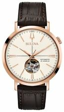 Bulova 97A136 Men's Automatic Brown Leather Strap White Dial Classic Watch