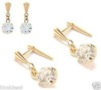 Girls 9ct Gold Andralok 5mm Clear Round CZ DROP Dropper Earrings B'Day GIFT BOX