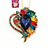 Betsey Johnson Crystal Rhinestone Love Heart Pendant Chain Necklace/Brooch Pin