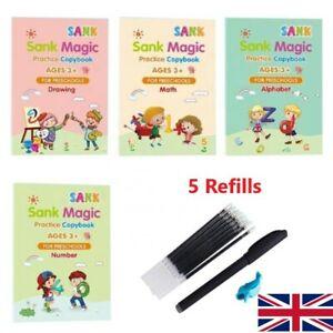 4 x Sank Magic Practice Notebooks Handwriting English Math Drawing Kids Blue