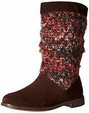 NEW TOMS Serra Slouchy Boot, Brown Suede, Woven Upper, Women Size 8.5