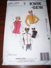 KWIK SEW #2615-LADIES ( GREAT FOR FLEECE ) WAIST JACKET & VEST PATTERN  XS-XL FF