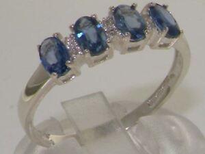 10ct White Gold Natural Sapphire & Diamond Womens Modern Ring - Sizes J to Z