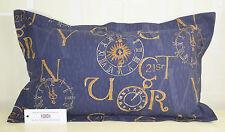 "Vintage Clocks Calligraphy Rectangular Oblong Cushion 21""x13"" 100%  Cotton Blue"