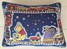 "Classic Disney Winnie the Pooh Eeyore Tigger Piglet Train Tapestry Pillow 16x12"""