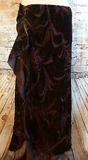 Ralph Lauren Women's Ruffled Velour Silk Brown Gold Skirt Size Petite Large