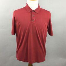 Mens EDDIE BAUER Golf Polo Short Sleeve Sz M Red Pima Cotton Sensura Polyester