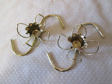 Vtg Pair Gold Tone Candle Holders,  Wire Scroll Design Floral