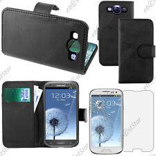 Housse Etui Coque Portefeuille PU Cuir Noir Samsung Galaxy S3 i9300 + Verre