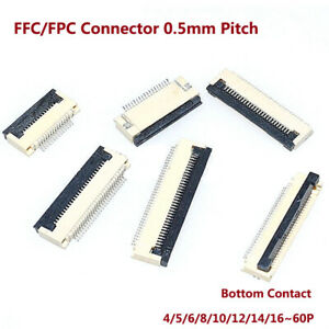 FFC/FPC Connector 0.5mm Pitch Bottom Contact 4/5/6/8/10/12/14/16~60P Flat Cable